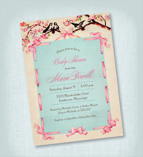 vintage floral party invitation