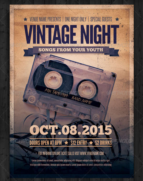 vintage night event flyer
