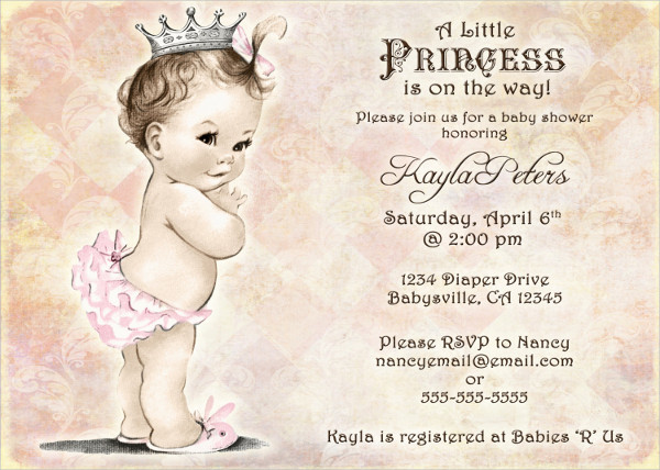 Vintage Princess Baby Shower Invitation
