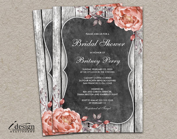 vintage rustic bridal shower invitation
