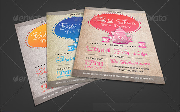 vintage tea party bridal shower invitation