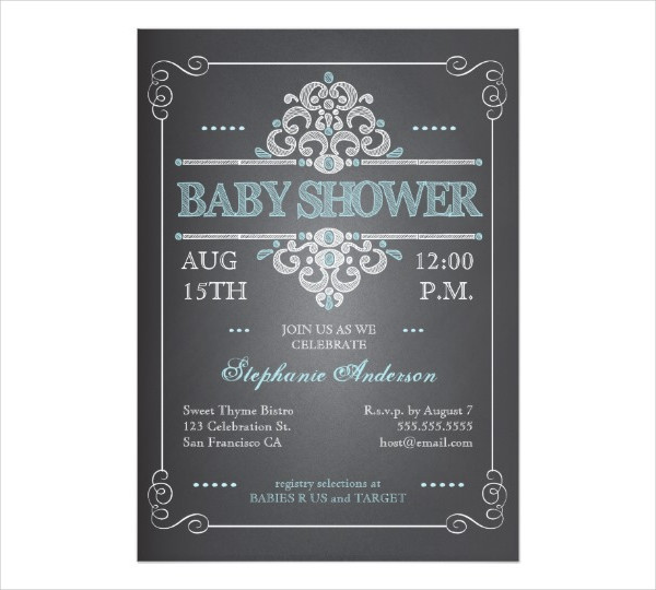 vintage chalkboard baby shower invitation