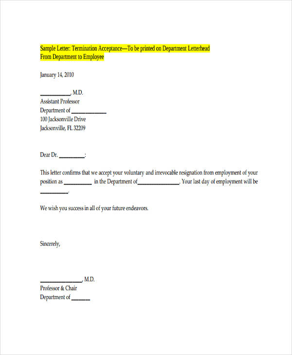 Voluntary Employment Termination Letter  Employer Termination Letter Sample