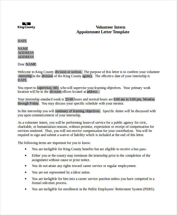 49+ Appointment Letter Examples & Samples - PDF, DOC