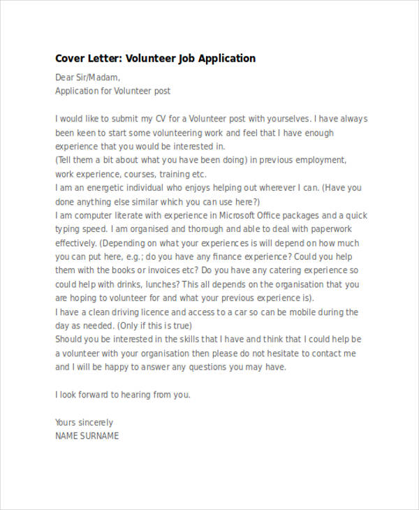 volunteer job application letter sample