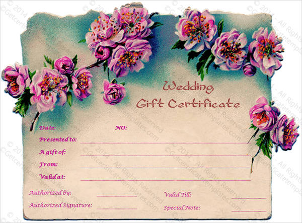 wedding gift certificate card