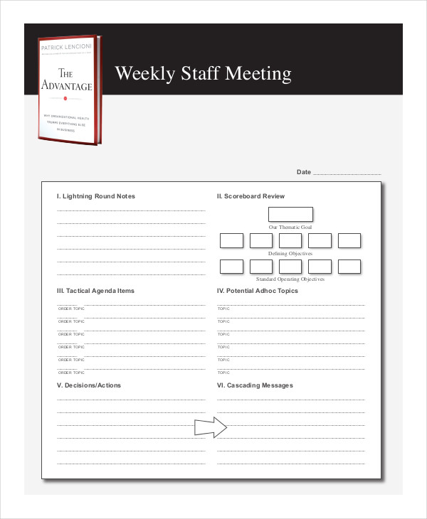 The Advantage Weekly Staff Meeting Agenda  Agenda Meeting Example