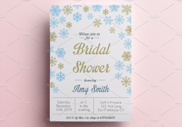 winter themed bridal shower invitation