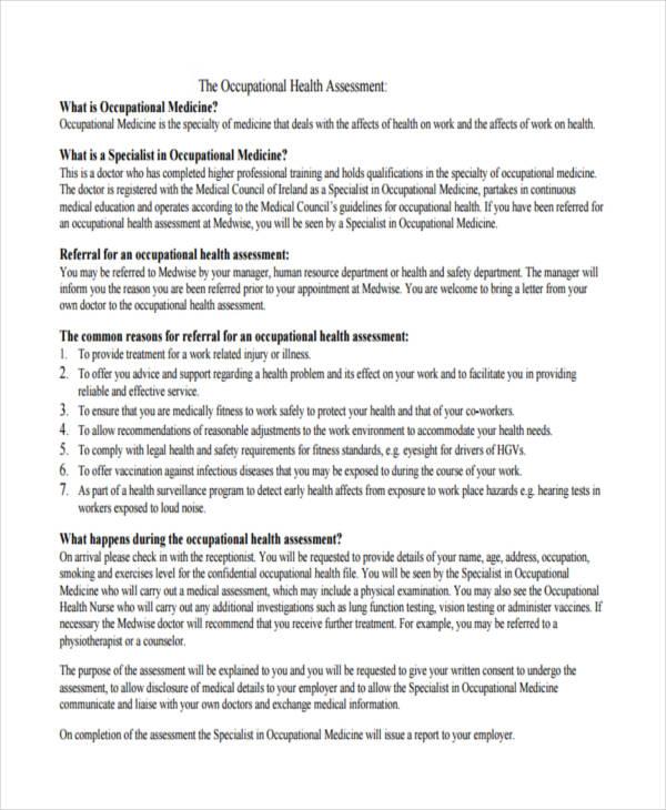 work occupational health assessment