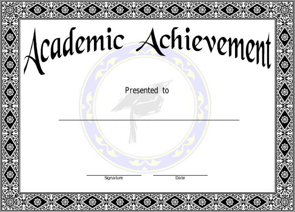 academic achievement sample certificate