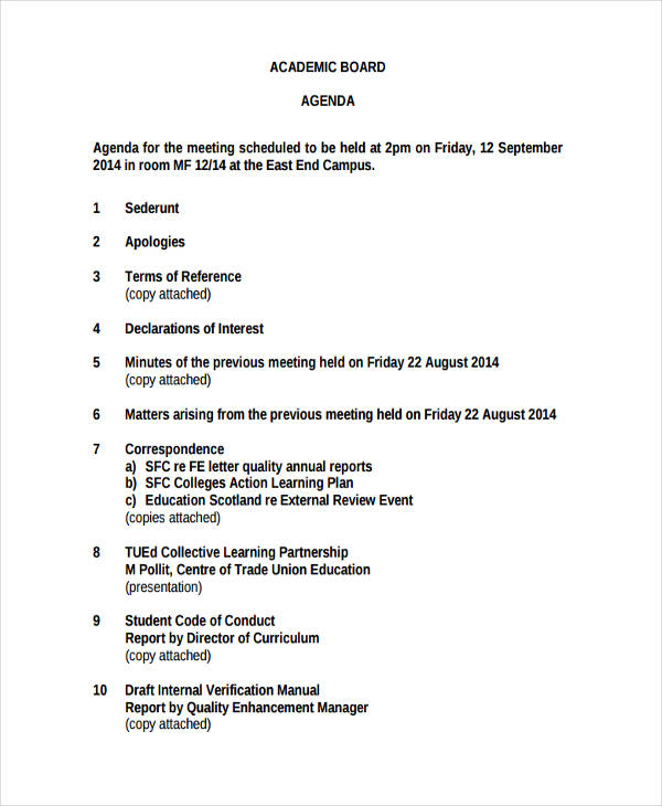 academic board agenda
