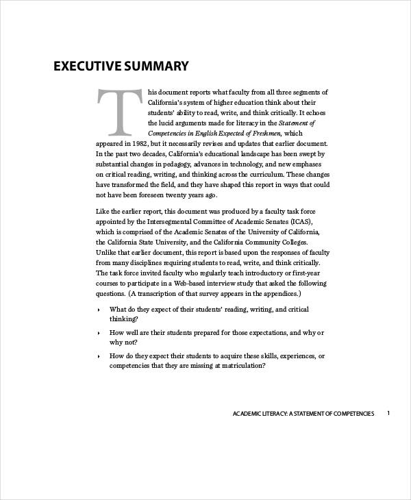 Academic Literacy Final Report  Executive Summary Of A Report Example
