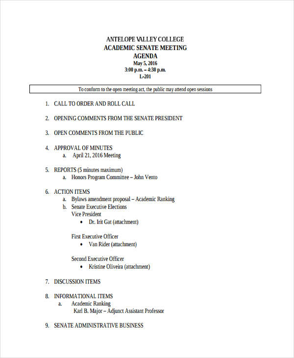 academic meeting agenda