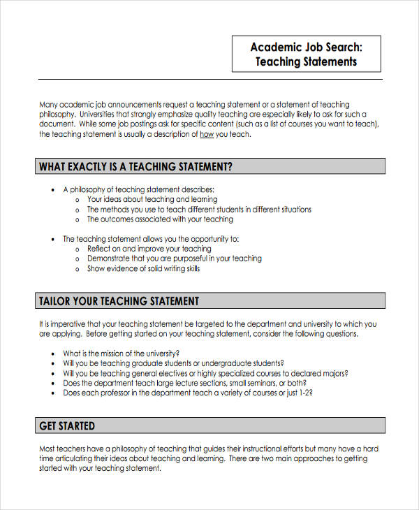 academic teaching sample