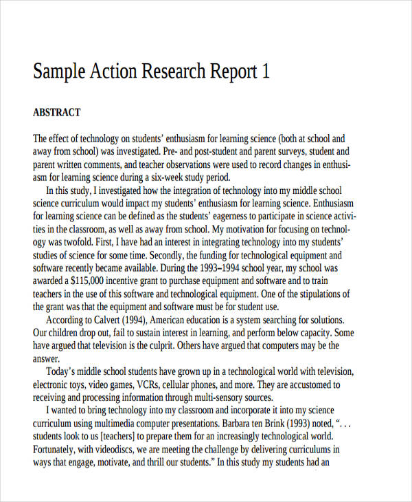 Sample Research Reports Action Research Report Research Report