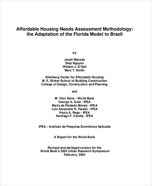 Affordable Housing Needs Sample