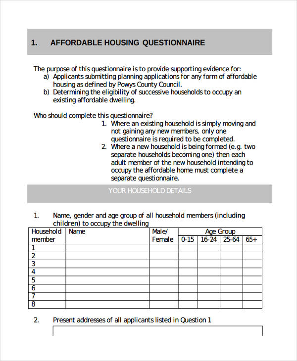 affordable housing questionnaire