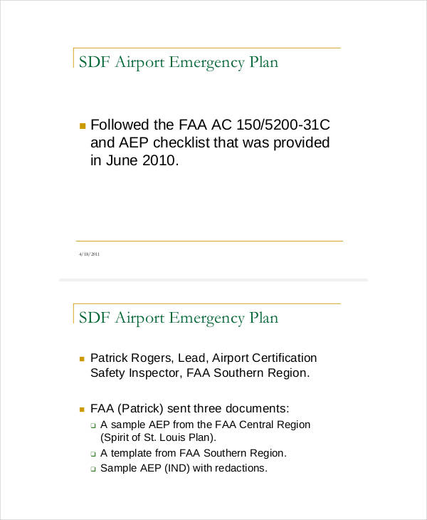 airport emergency sample plan