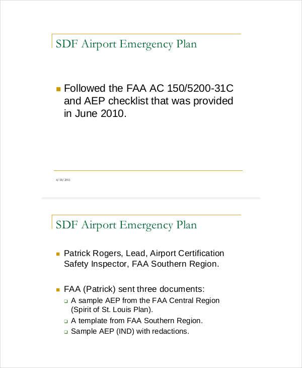 airport emergency sample plan