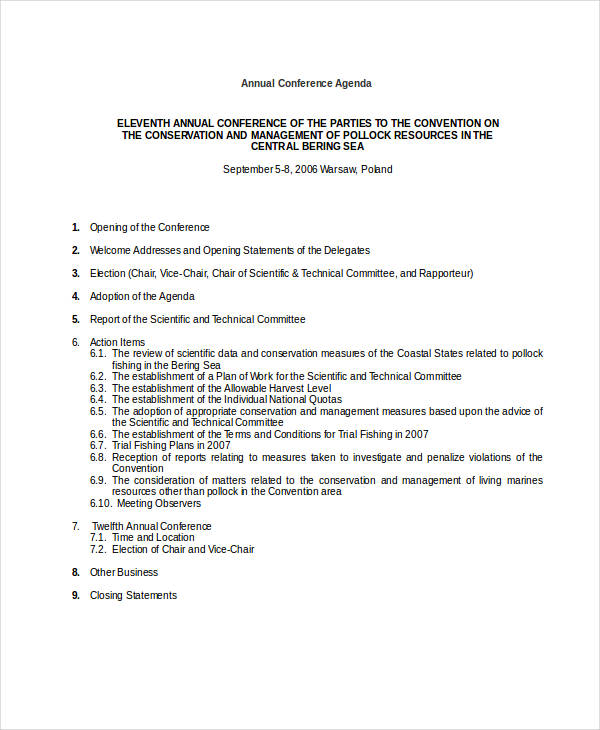 annual conference agenda example