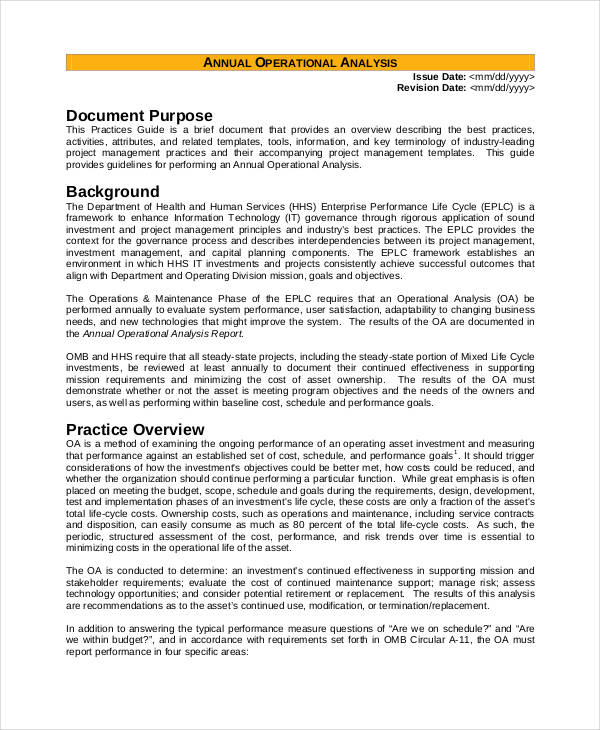 6  operational analysis examples  u0026 samples