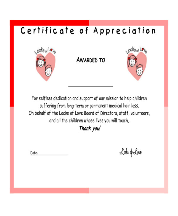 appreciation certification example