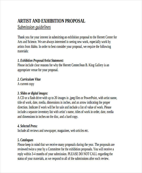 Artist Proposal Template Sample Art Proposal Template  Free