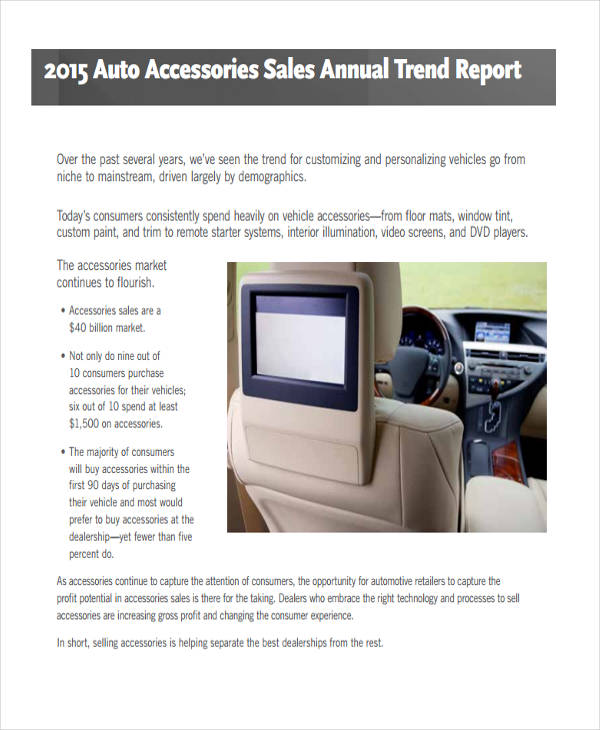 auto accessories sales report