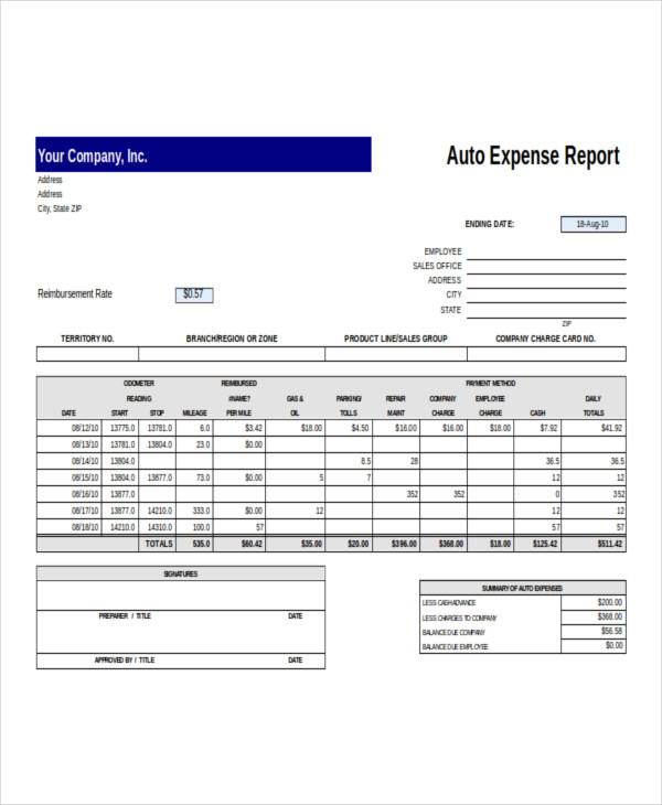 auto expense report