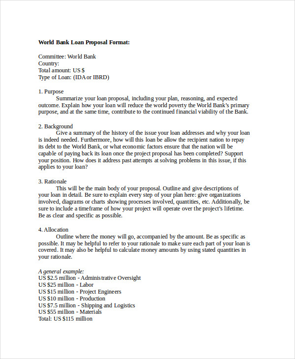bank loan sample proposal