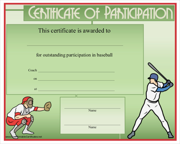 baseball certification example