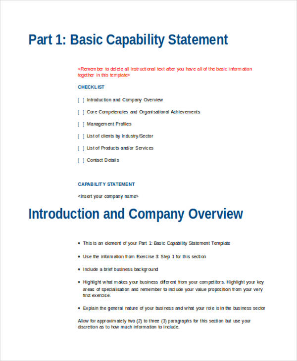 basic capability statement