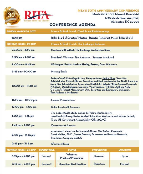 basic conference agenda
