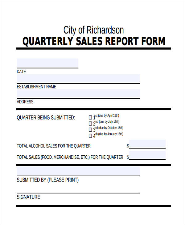 basic quarterly sales report
