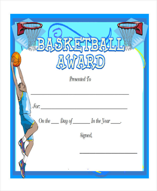 27 award certificate examples samples basketball award certificate yelopaper Choice Image