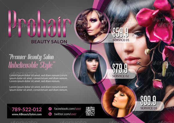 beauty salon rack card