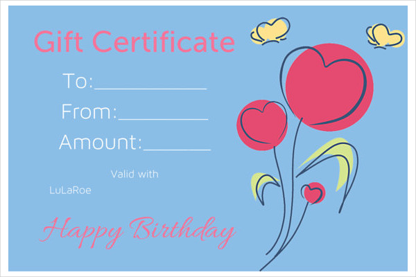 sample birthday gift certificate template birthday gift certificate