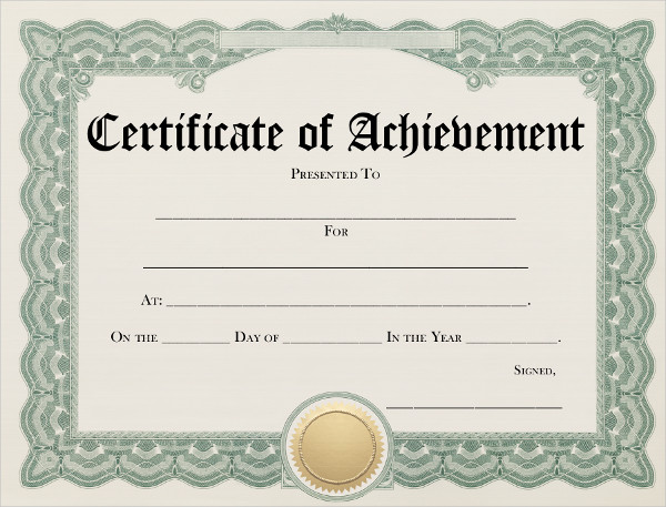7 achievement certificates examples samples for Certificate of attainment template
