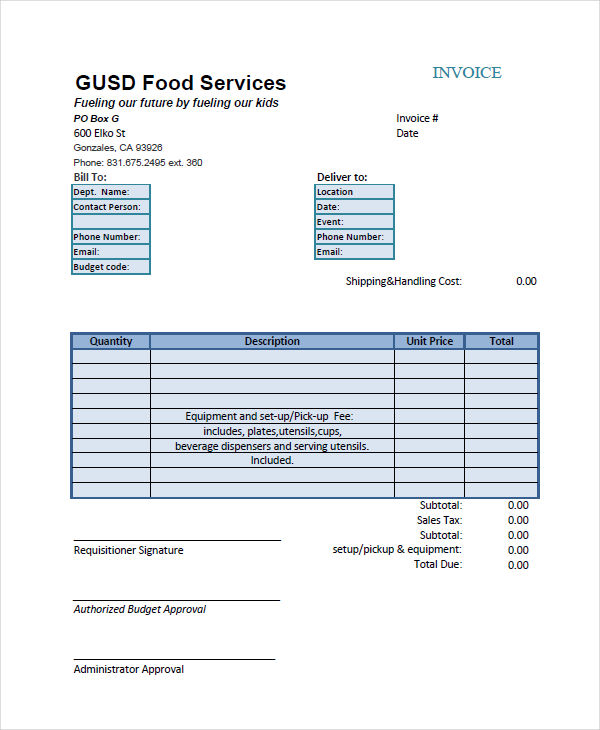 6+ Catering Invoice Examples, Samples
