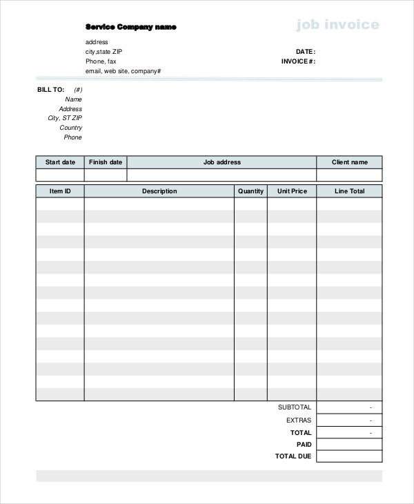10+ Job Invoice Examples, Samples