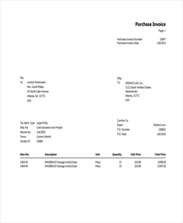 Purchase Invoice Examples  Samples