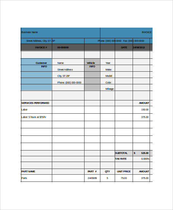 blank repair invoice