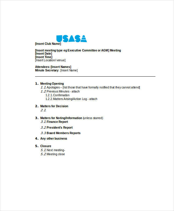 board meeting agenda1