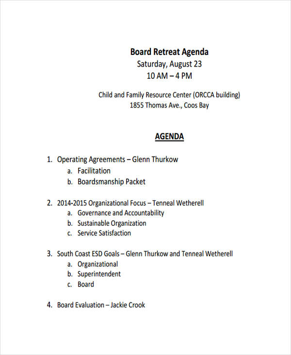 board retreat agenda2