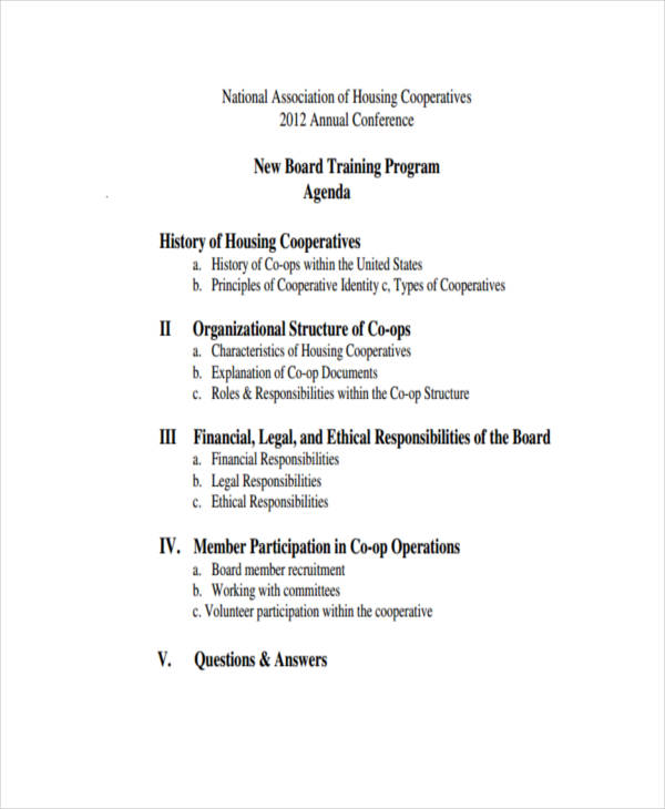 free 9  board agenda examples  u0026 samples in pdf