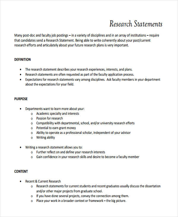 Research Statement Examples