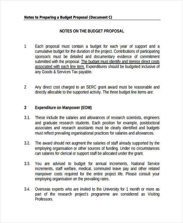budget for research proposal2