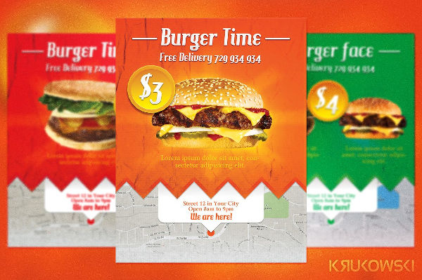burger restaurant advertising flyer