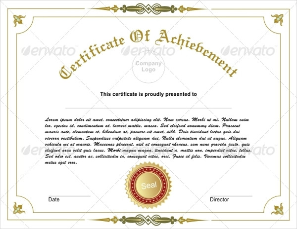 Business Certification  Certificate Of Achievement Sample