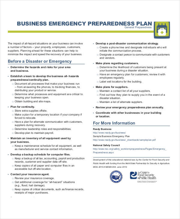 Emergency Plan Examples